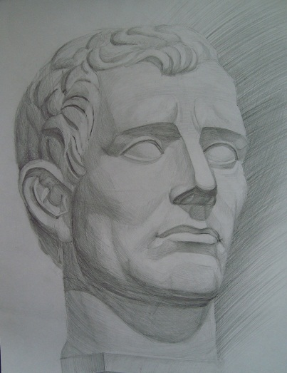 Гипсовая голова. Рисунок